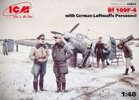 Истребитель Bf-109F-4 с немецким персоналом Люфтваффе