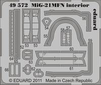 Фототравление 1/48 Миг-21МФН интерьер самоклеющееся, (рекомендовано для Eduard)