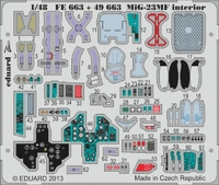 Фототравление 1/48 МиГ-23МФ интерьер ( рекомендовано для Trumpeter)