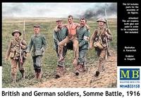 Британские и германские солдаты, битва на Сомме, 1916