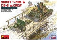 Cоветский танк Т-70М С пушкой ЗИС-3 и экипажем w/CREW