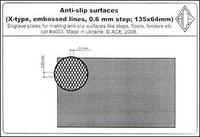 PEa003 Anti-slip surfaces (X-type, 0.6 mm step, embossed lines;