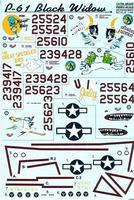 Декаль для истребителя P-61 Black Widow Part 2