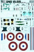 Декаль для модели истребителя Spad VII-XVII Part 1