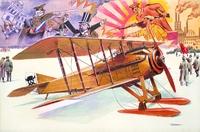 Истребитель  SPAD VII C.1 с лыжами